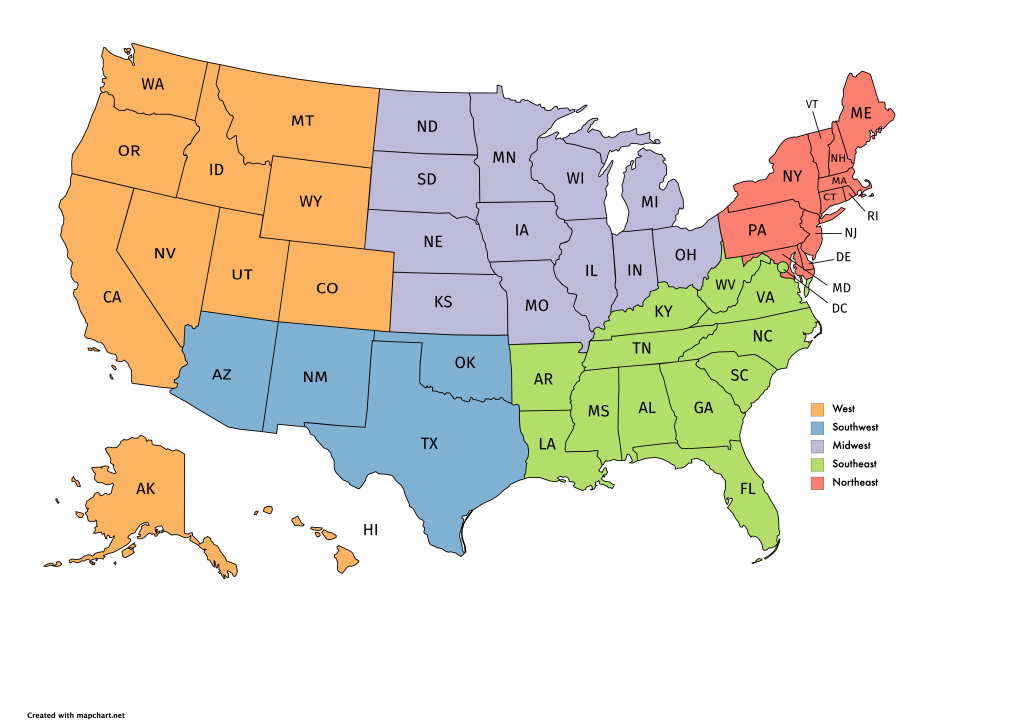 Map of the United States of America, dividing up the NEMPN Network into five regions: West (orange), Southwest (blue), Midwest (purple), Southwest (green), and Northeast (red).